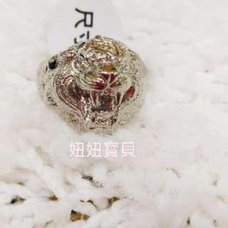 🇹🇭☆妞妞寶貝☆【龍波本廟】  咬錢虎 戒指 ( 銀色) ~咬錢 咬財富 招財  限戒圍21