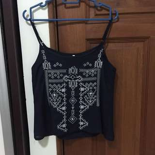 Spaghetti Strap Embroidery Top In Navy Blue