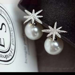 Snowflakes Rhinestones & Pearl Double Sided Earring