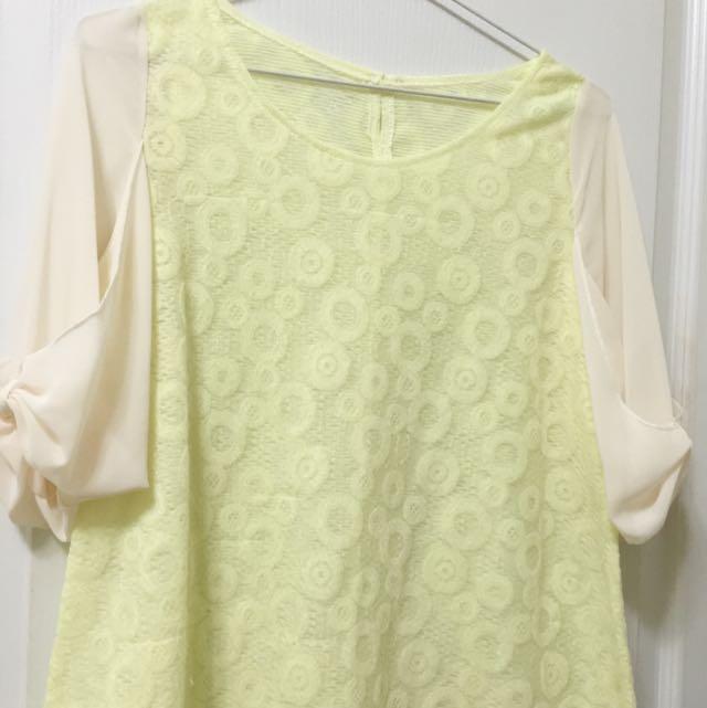 ❤️SALE❤️夏季微甜🍮鵝黃透膚雪紡造型上衣
