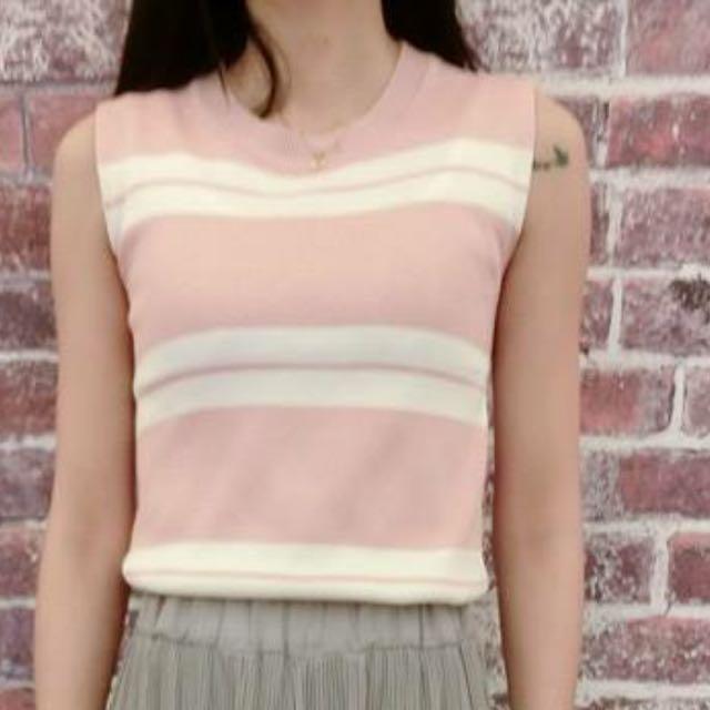 粉色無袖薄針織
