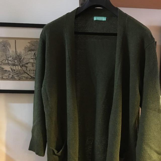 綠色長版毛衣外套