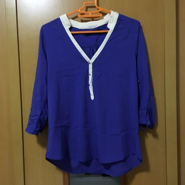 韓版寶藍色襯衫