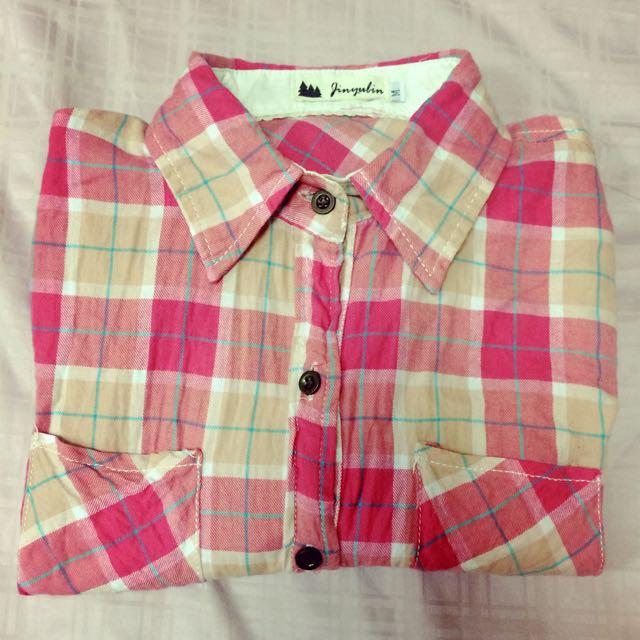 少女粉色格子襯衫(不含運)
