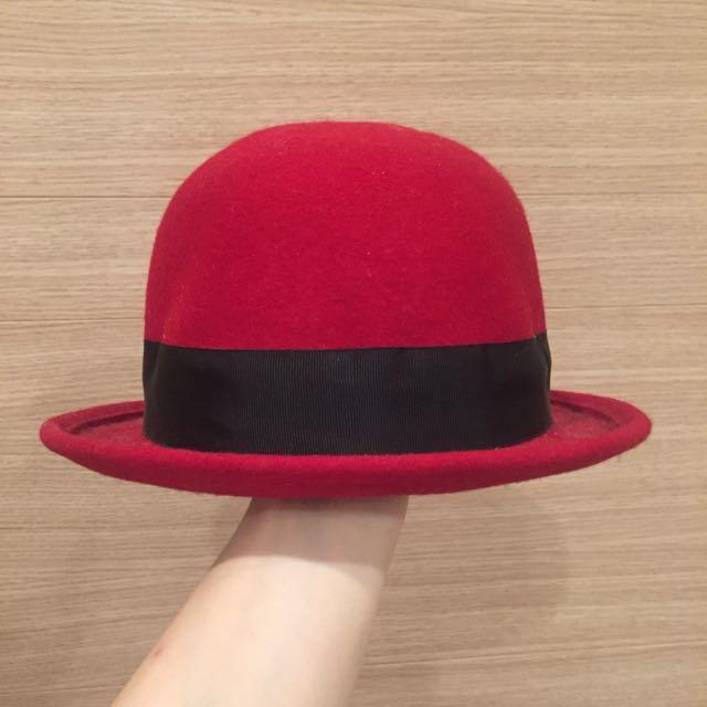 🔸全新🔹紅色毛呢圓帽 漁夫帽