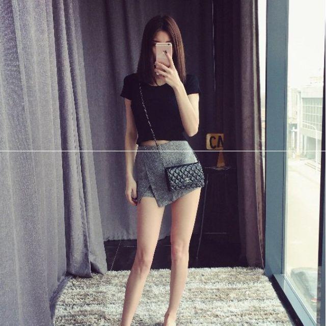 韓國定制 小香風仿粗花格紋 不規則包臀小短裙褲