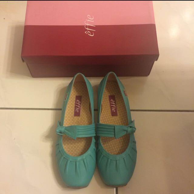 阿瘦皮鞋 娃娃鞋 保證正 全新 藍綠色22.5號