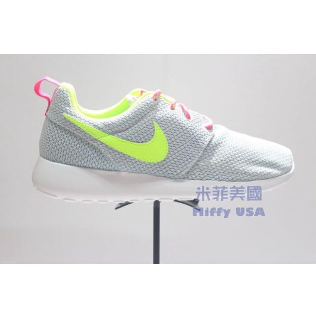 (保留)二手 Nike Roshe One (GS) 灰 粉 黃慢跑鞋現貨 23.5cm