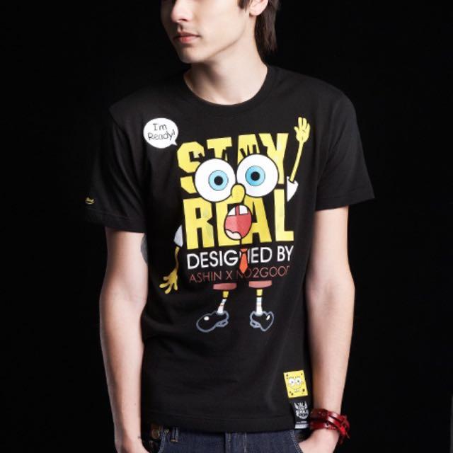 二手 Stay Real X Sponge Bob 聯名經典T恤