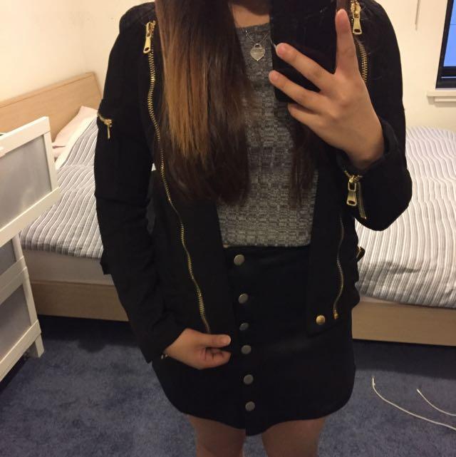 Black Gold Zip Bomber Jacket