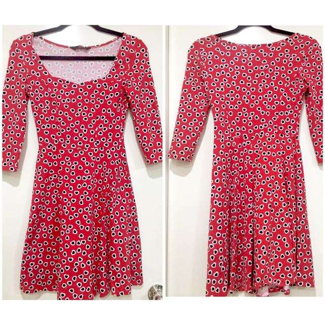 Dorothy Perkins Love Heart❤️❤️ Patterned Sexy Skater Dress Sz S