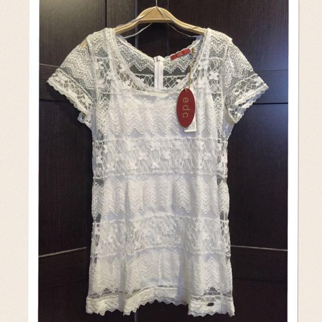 (商品保留)全新edc Esprit副牌2件式休閒感簍空針織蕾絲合身洋裝