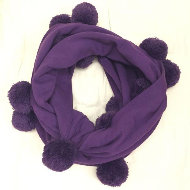 ✋🏼二手✋🏼超新mercibeaucoup紫色球球脖圍
