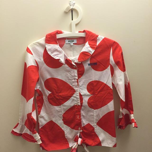 ✋🏼二手✋🏼Moschino愛心波浪喇叭袖襯衫