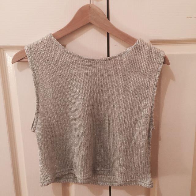 Silver Knit Crop