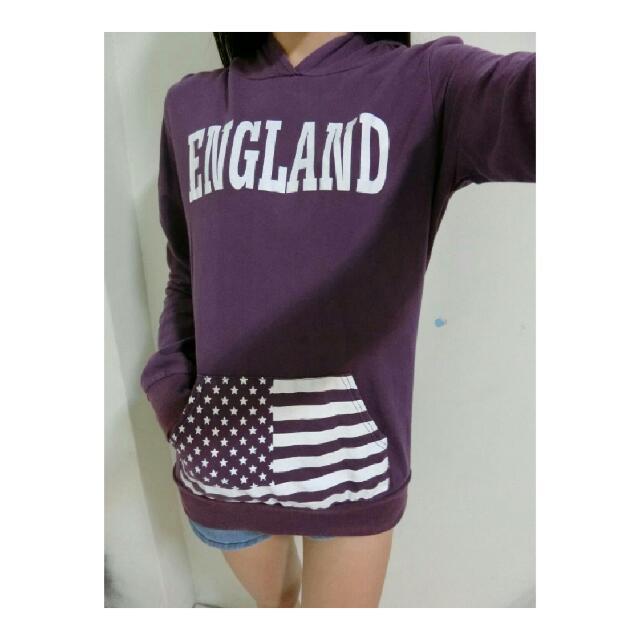 ✨紫色長版帽T