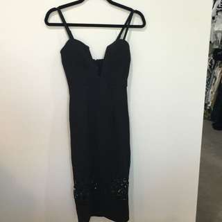 'Shareen' Black Plunging Neck Party Dress