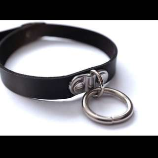 Black Faux Leather Belt Collar O Ring Choker Necklace