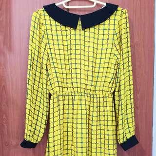 黃色鮮明格紋短裙洋裝