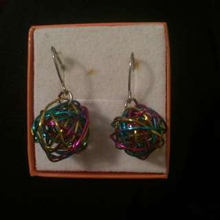 Colourful Wire Ball Earings