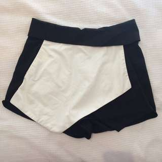 Black & White Leather Skort