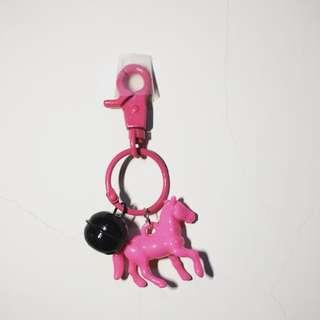 手工鑰匙圈-鈴鐺粉紅馬