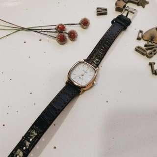 簡約復古俐落小方形細帶手錶 兩款
