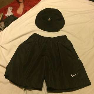 Nike Shorts + Adidas Bucket Hat