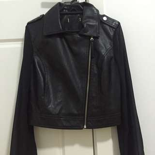 Faux Leather Jacket With Sheer Sleeve