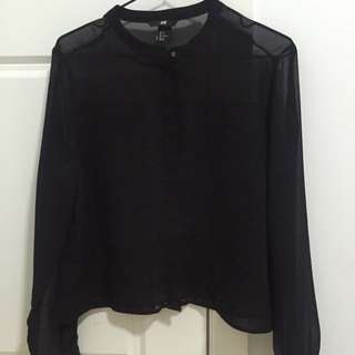 H&m Sheer Black Blouse