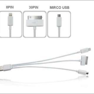 2 X 3 In 1 Universal Usb Cable Chargers