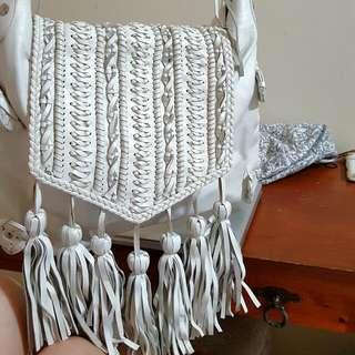 Asos Zara White Boho Tassel Leather Bag