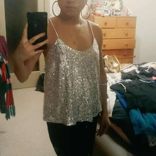 Silver & White Sequin Racer-back Tank Top