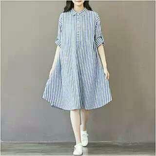 清新藍色條紋洋裝