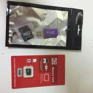 Micro SD HC 8GB Card + Card Reader + Adapter