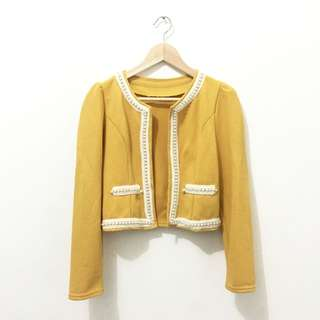 Yellow Blazer With Beads - Pre❤️