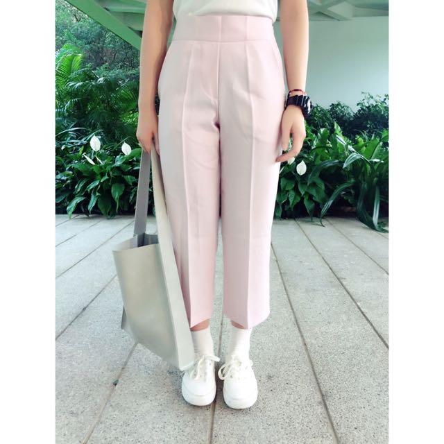 正韓玫瑰粉質感挺版直筒褲