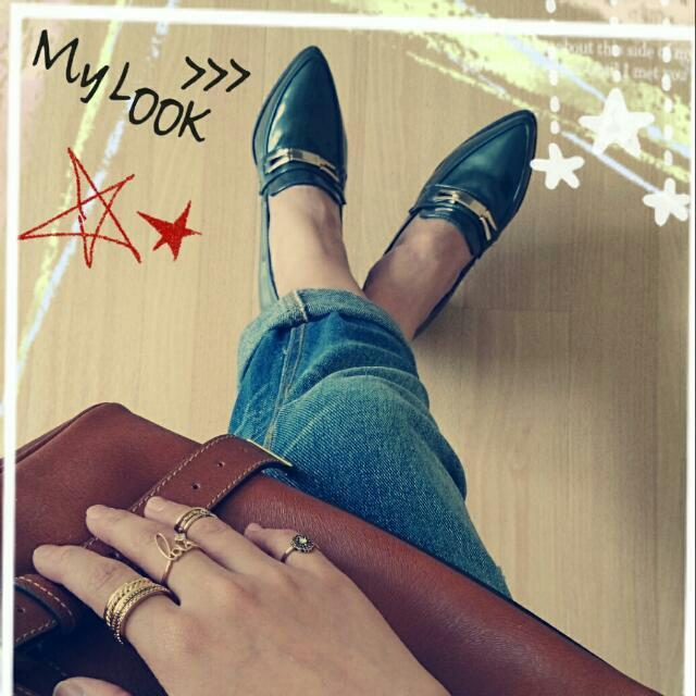 韓風雅痞粗跟尖頭鞋