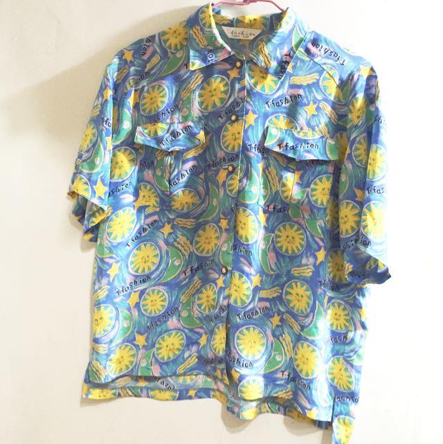 🌞古著輕薄花襯衫🌛