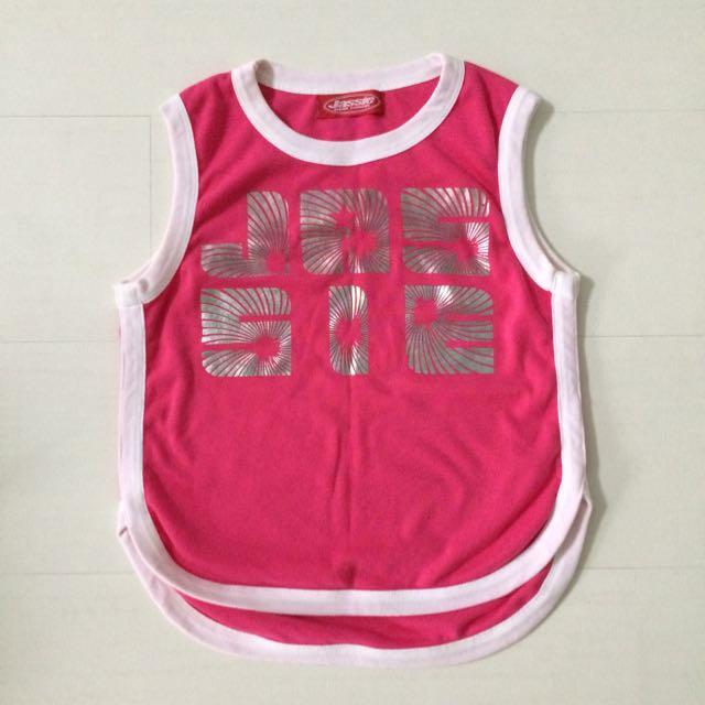 日本購入 無袖亮桃紅運動風上衣 慢跑 運動