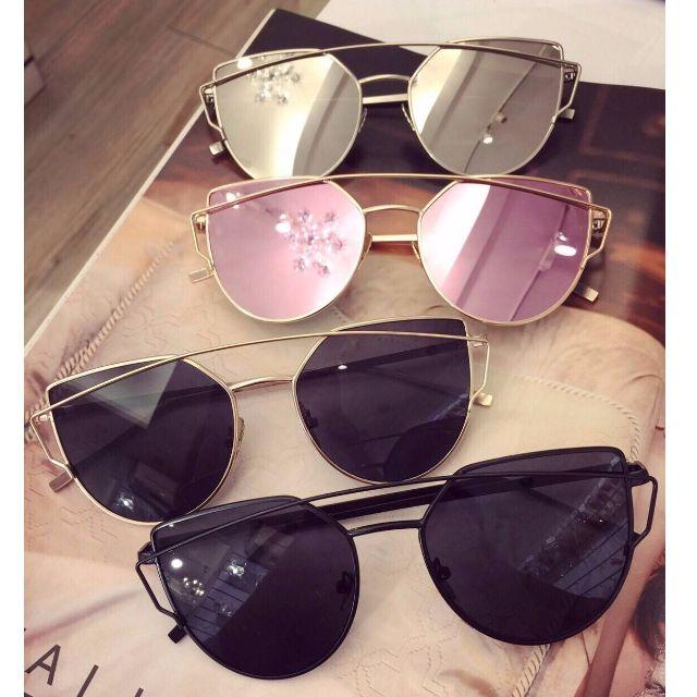特價-正韓 韓國網美最愛 細框金邊 幾何鏤空 反光墨鏡 潮牌太陽眼鏡 玫瑰石英粉 玫瑰金