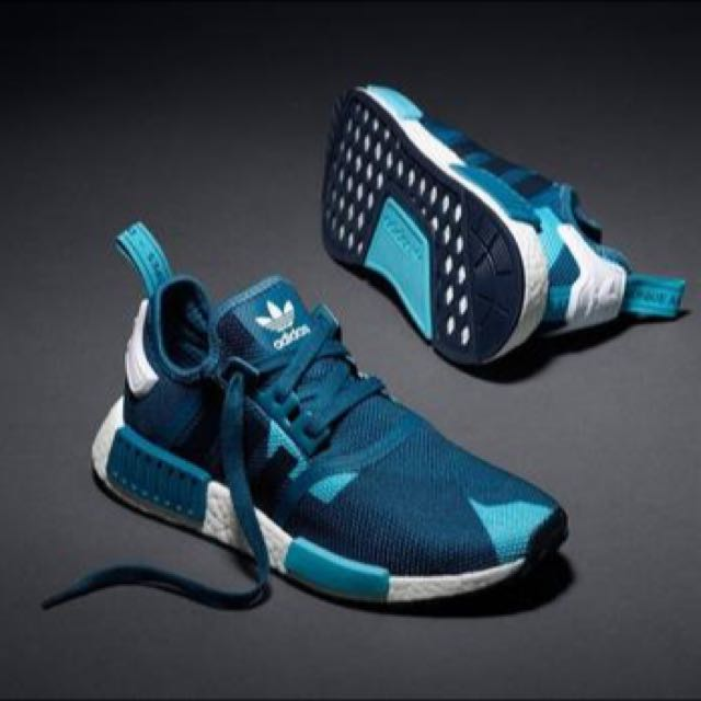 new styles 42d6a 9405a Adidas NMD R1 Blanche Blue, Women s Fashion on Carousell