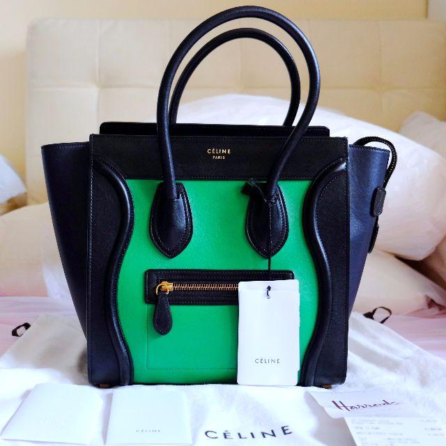 39c8342303e9 CELINE Micro Luggage Tricolor Grass Green Black Navy Blue Smooth Calf  Leather Tote Handbag