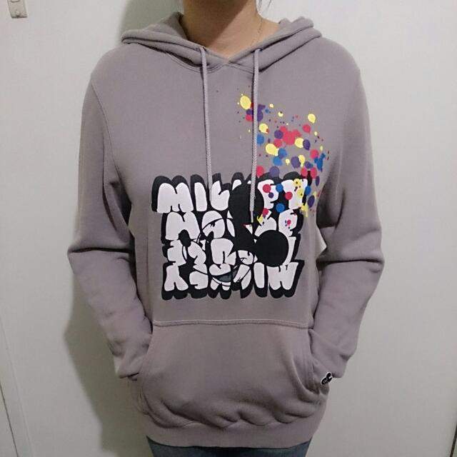 Grey Disney Mickey Mouse Pullover With Hood
