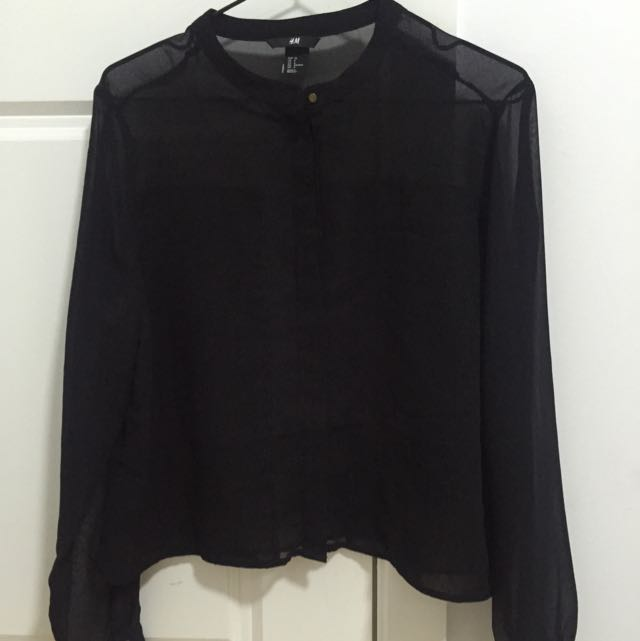 H&m Sheer Black Blouse