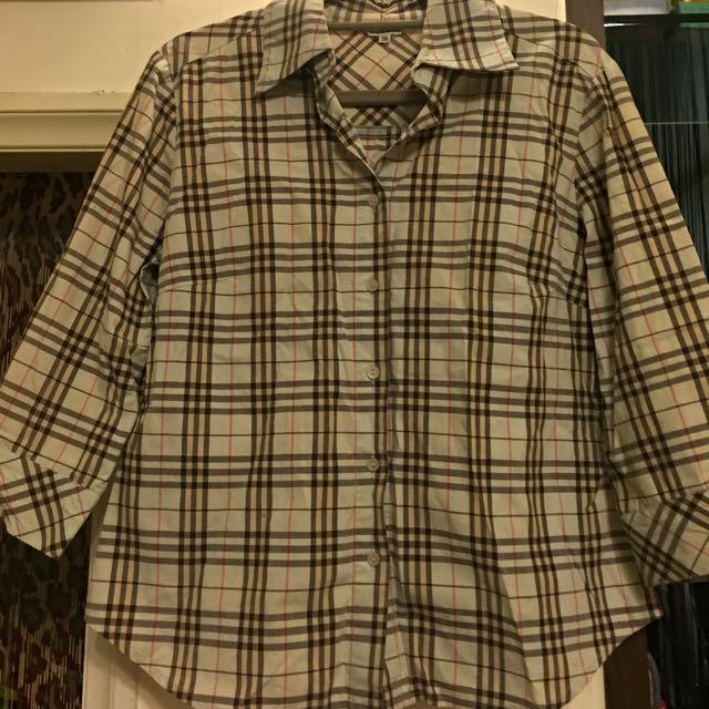 JS百貨專櫃品牌,似burberry湖水藍格紋襯衫
