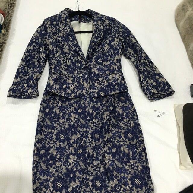 Navy & Cream Lace Suit