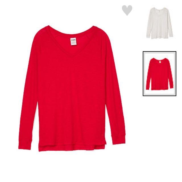 Pink紅色長袖上衣
