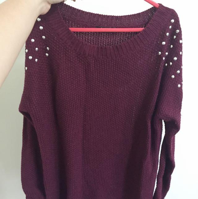 Studded Knit Sweater/dress