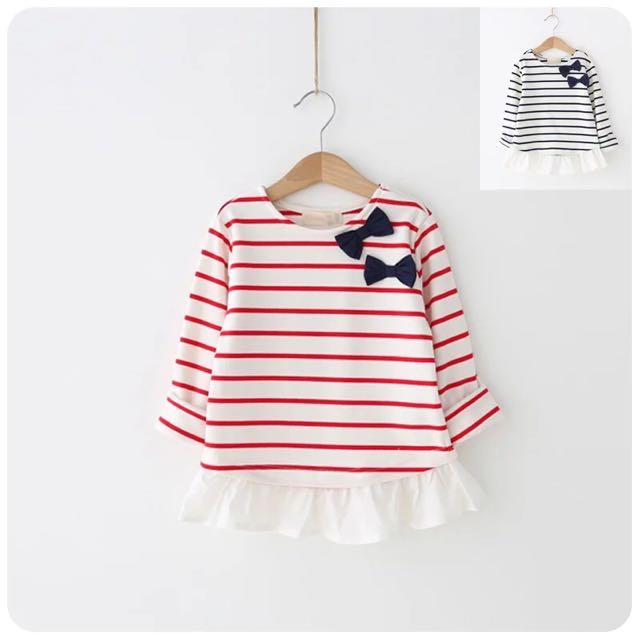 女童蝴蝶結條紋T恤拼接款打底衫裙